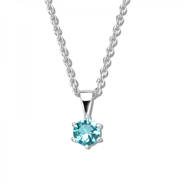 Collier mit Zirkonia 6mm light blue 40+5cm Silber 925/000