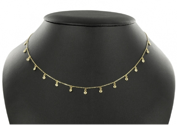 Collier mit 15 Zirkonia Gold 333/000