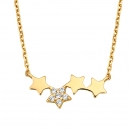 Collier Sterne/Zirkonia Gold 585/000